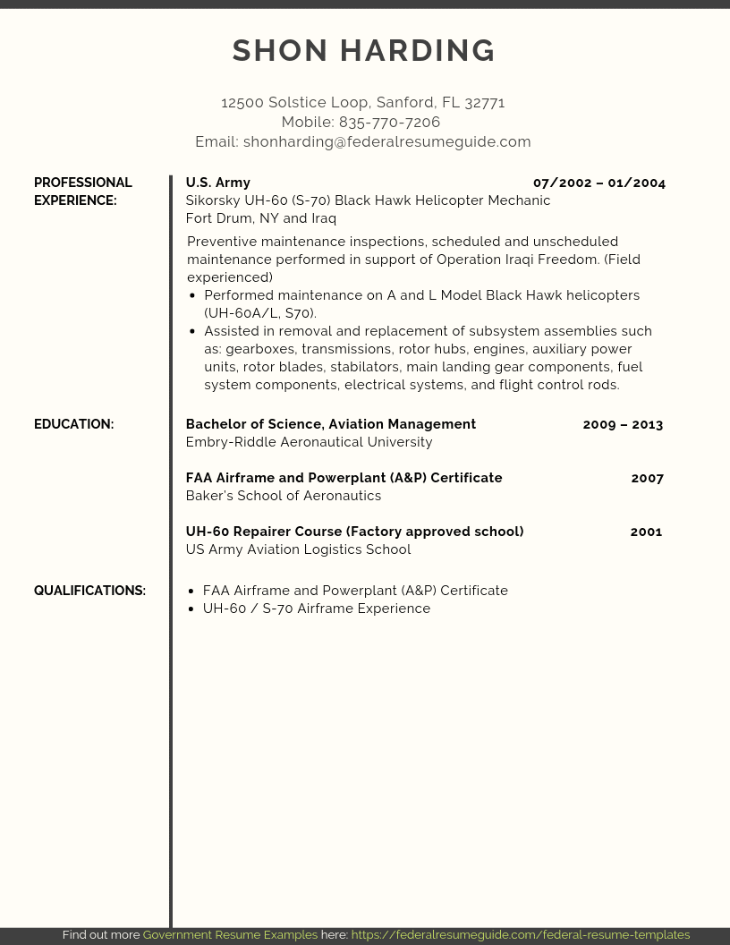Military to Civilian Resume Examples (Template) [PDF + Word ...