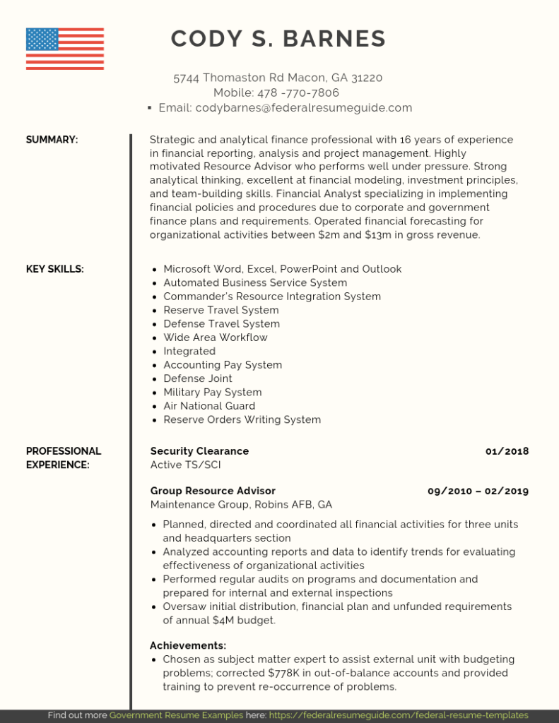 Military Resume Examples Template Free Download