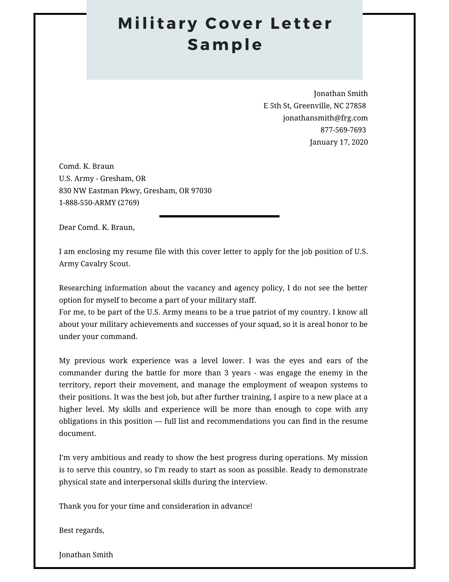 Military Cover Letter Sample Pdf Word Cover Letter Examples
