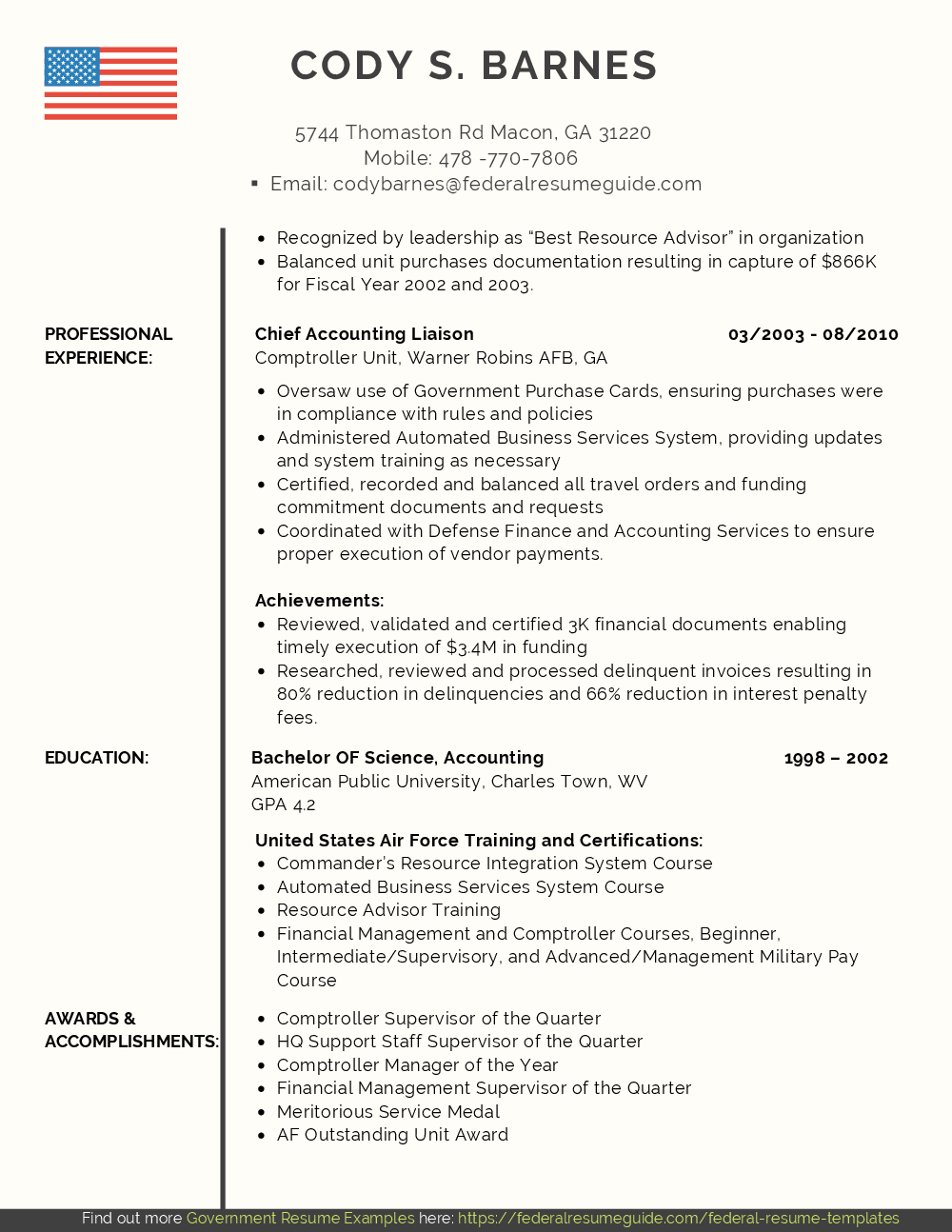 Military Resume Examples Template Free Download Federal